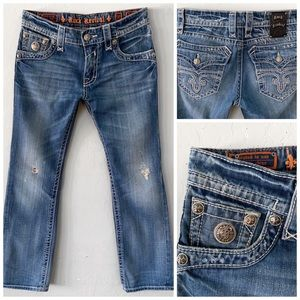ROCK REVIVAL FREDDIE STRAIGHT LEG BLUE JEANS SZ 32